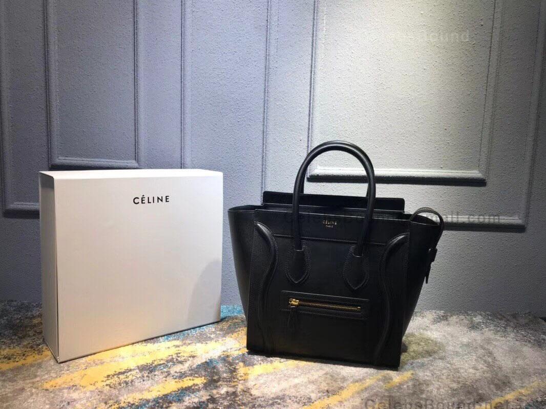 Celine Micro Luggage Handbag in Black Smooth Calfskin - 757c47502949c