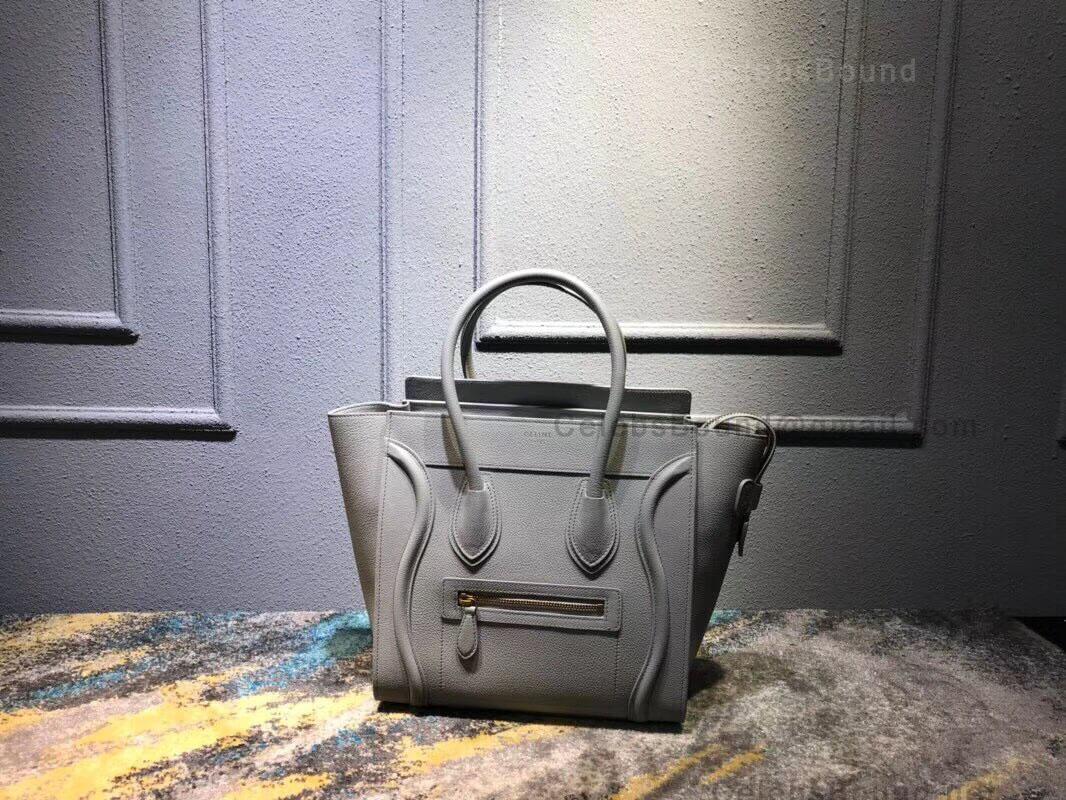 Celine Micro Luggage Handbag In Pale Gray Drummed Calfskin
