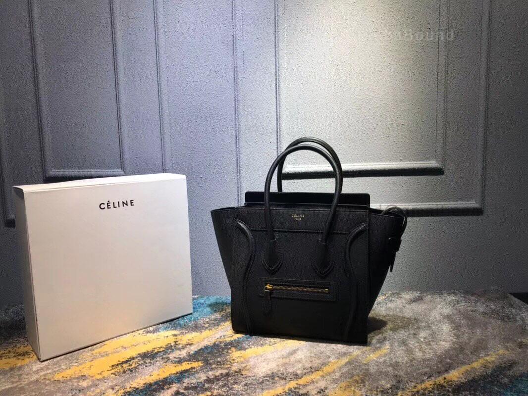 b56bffac12e9 Celine Micro Luggage Handbag in Black Drummed Calfskin SHW -