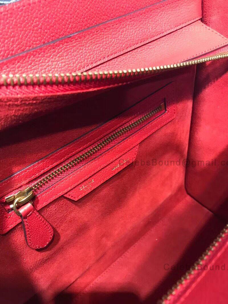 Celine Micro Luggage Handbag In Red Drummed Calfskin