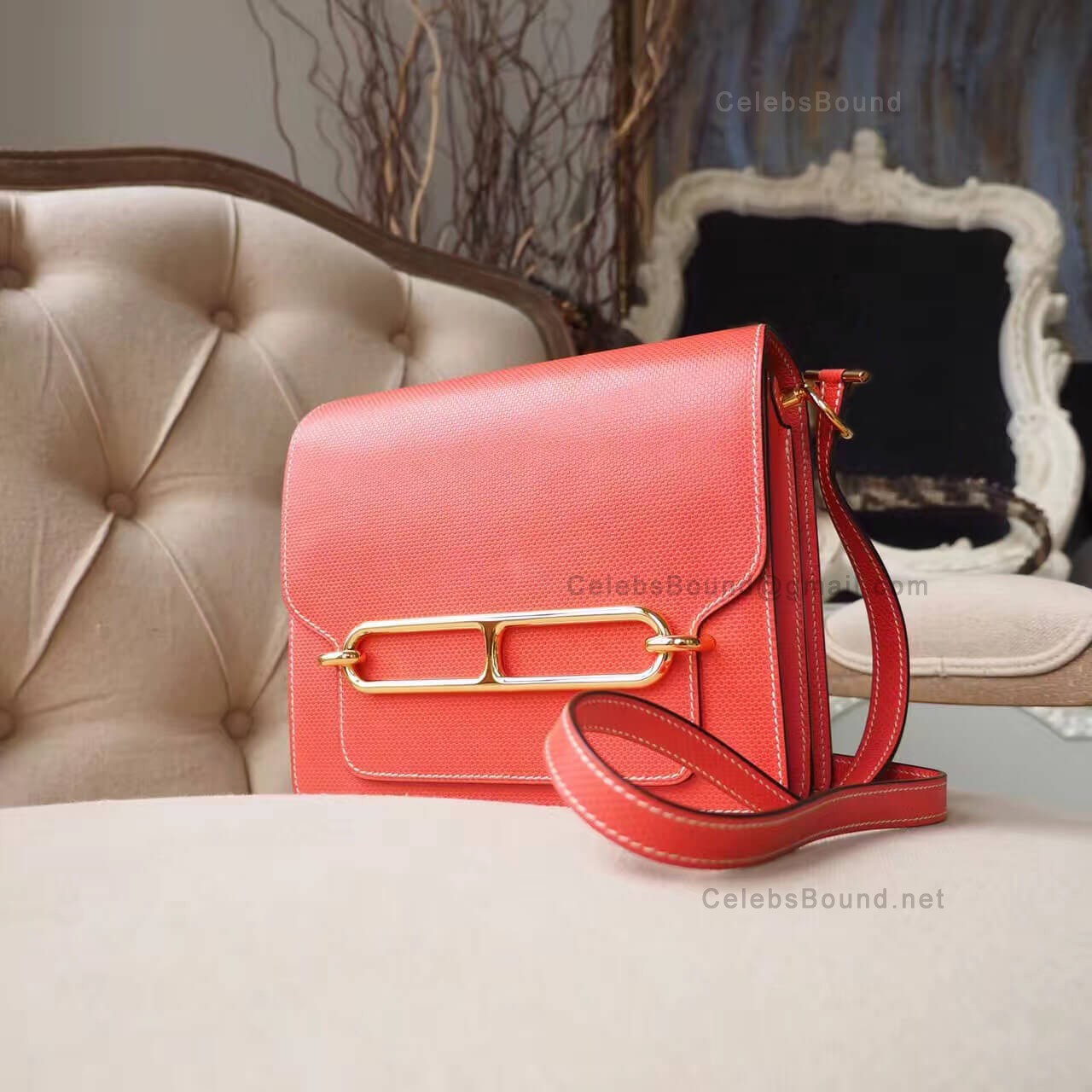 Replica Hermes Roulis 23 Bag in t5 Rose Jaipur Grain dH GHW