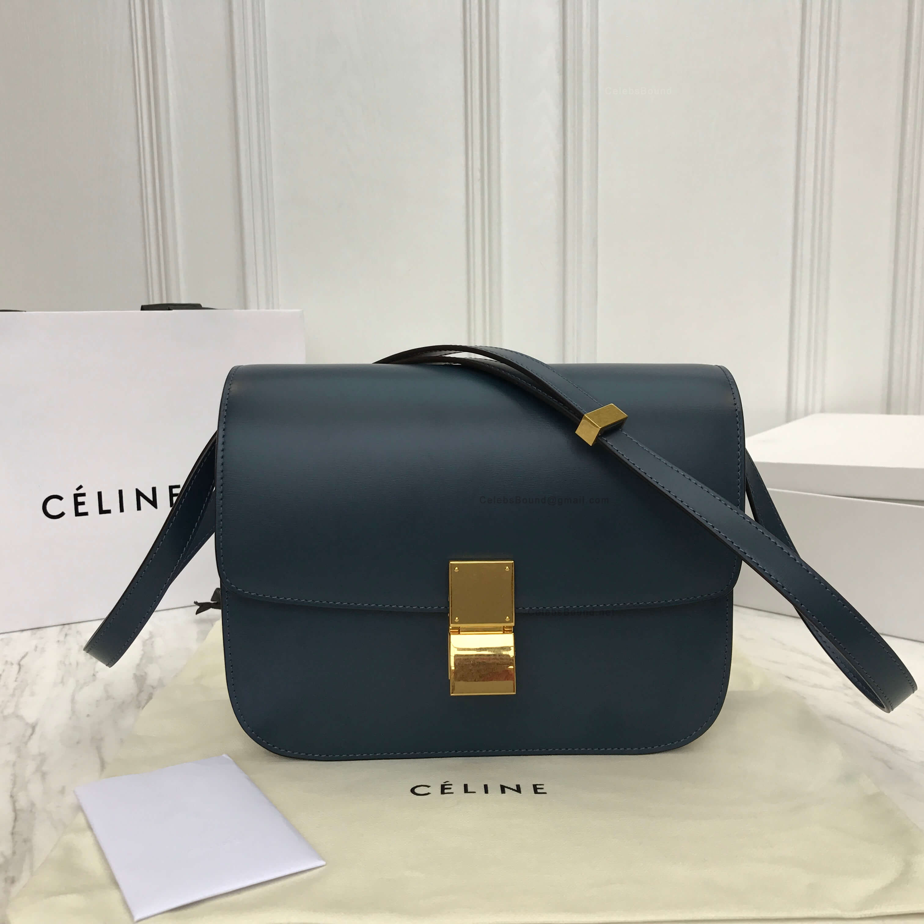 Celine Classic Box Bag Medium In Slate Blue Liege Calfskin