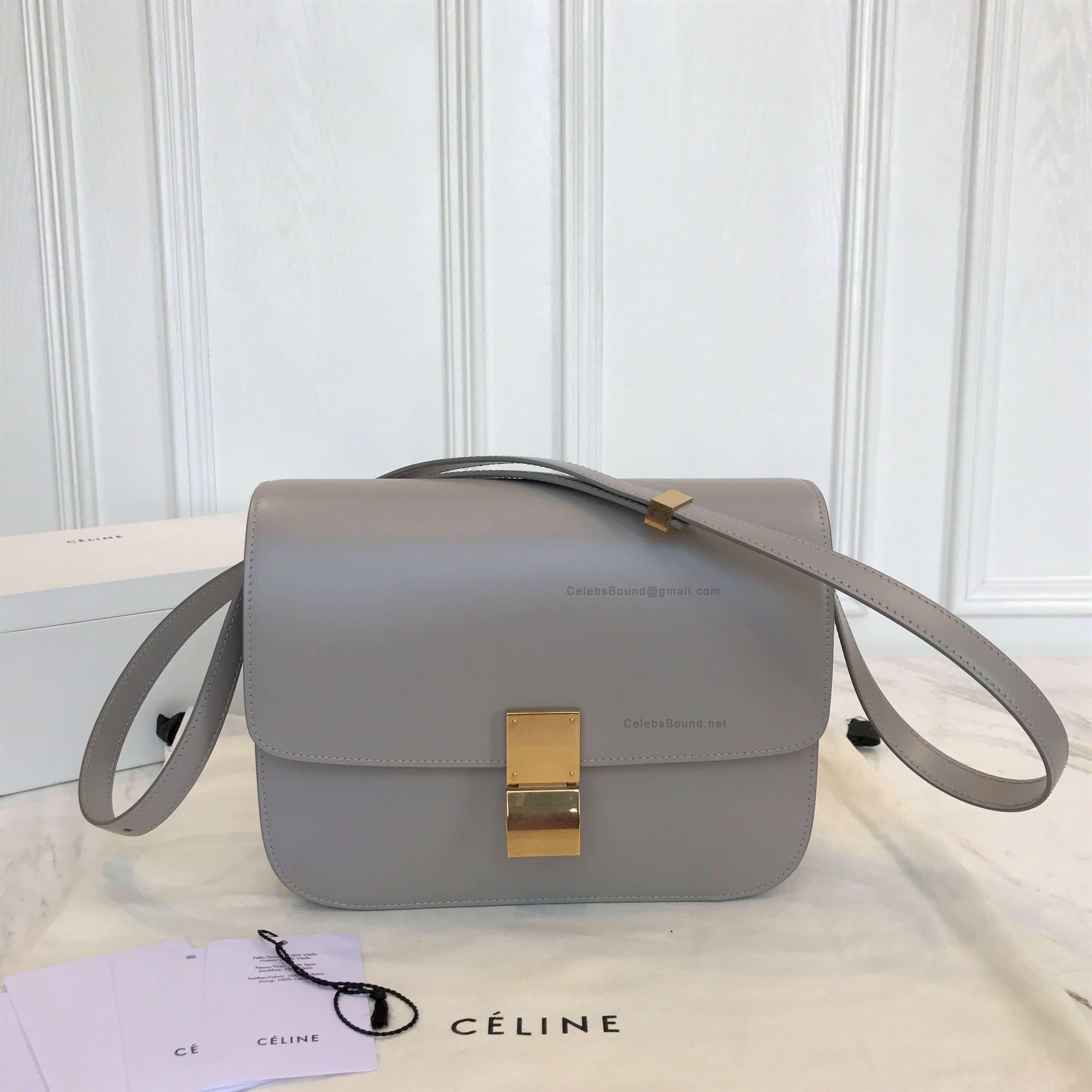 c009940d9c Celine Classic Box Bag Medium in Light Grey Liege Calfskin