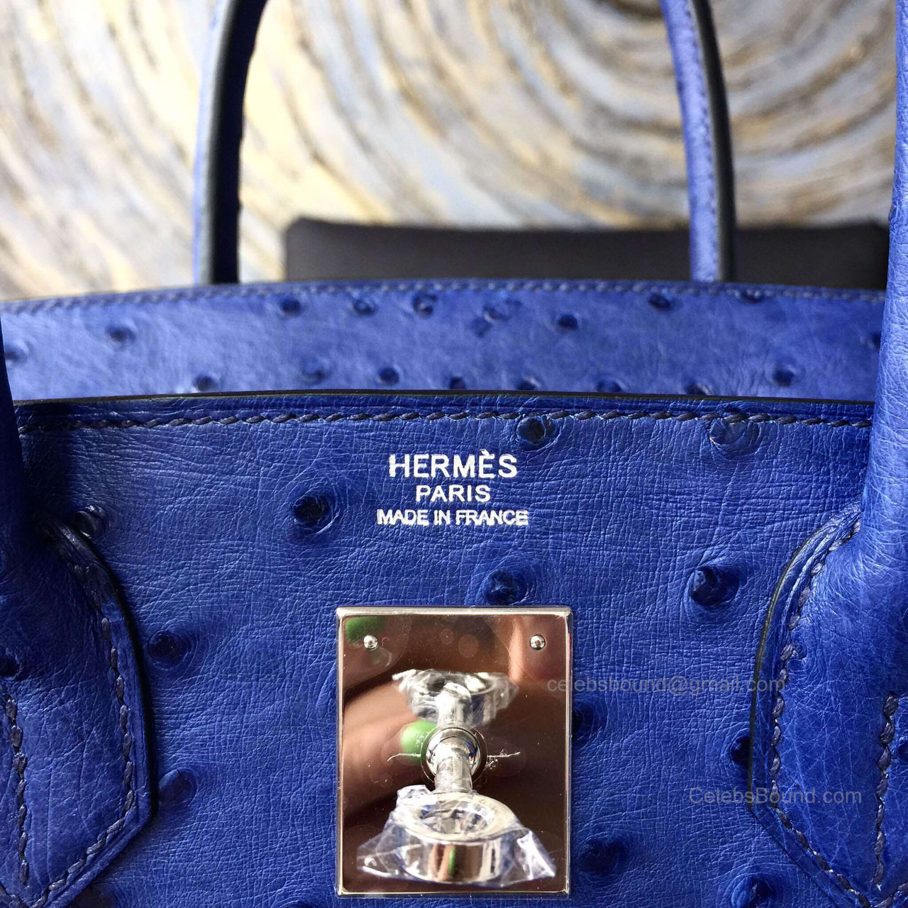 3336800035c5 Hermes Birkin 35 Bag Blue Iris Ostrich Leather Handstitched Silver hw -