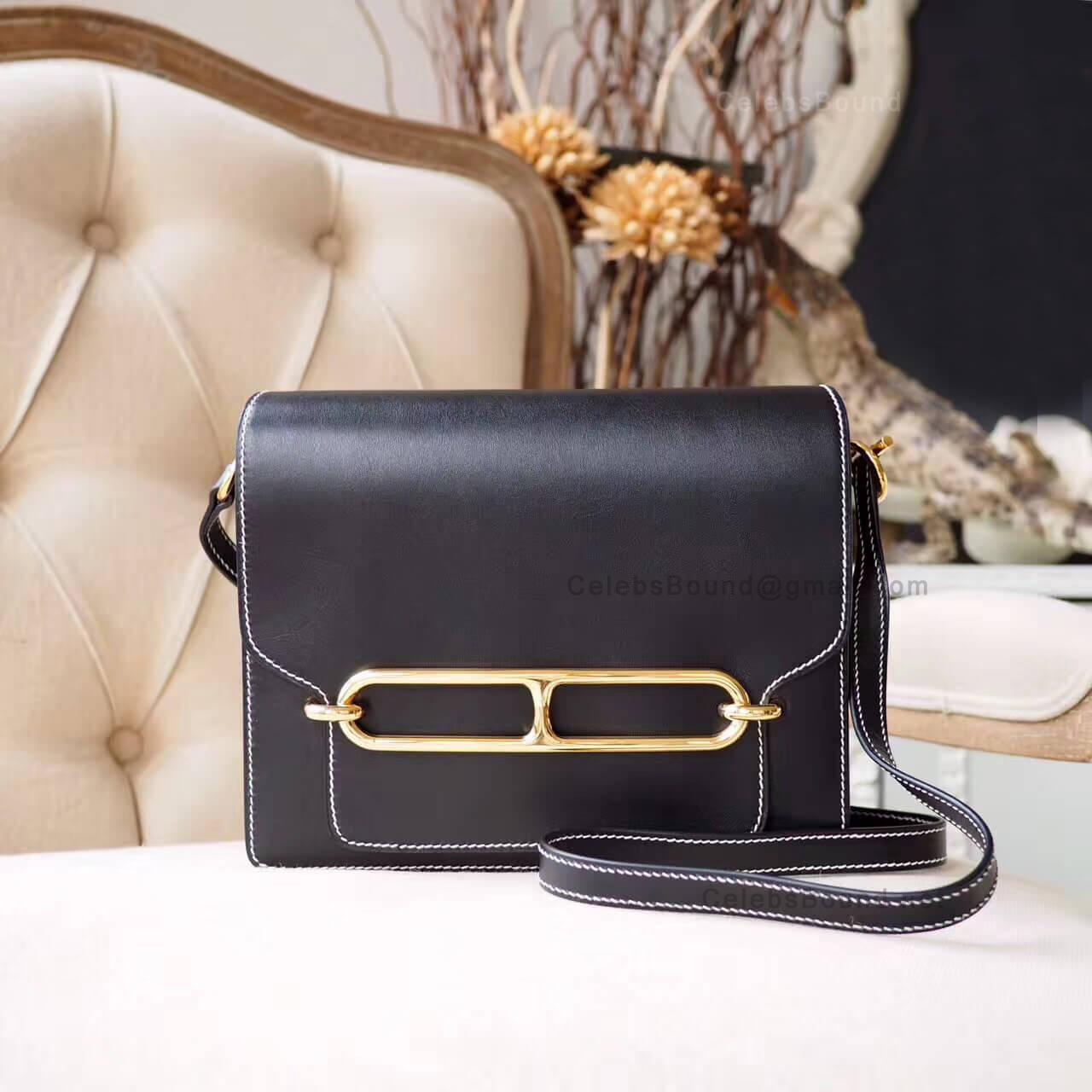 Hermes Roulis 23 White Stitching Bag in ck89 Noir Evercolor GHW
