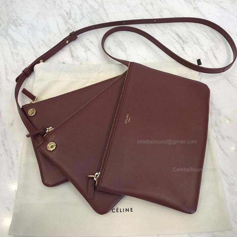 416f730e79fe Replica Celine Large Trio Burgundy Lambskin Shoulder Bag -