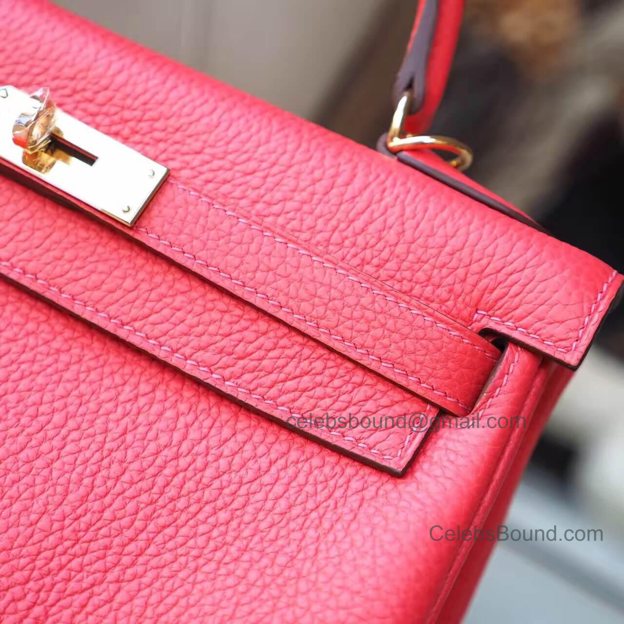 7307505e2d96 Hermes Kelly 28 Bag in t5 Rose Jaipur Clemence GHW -