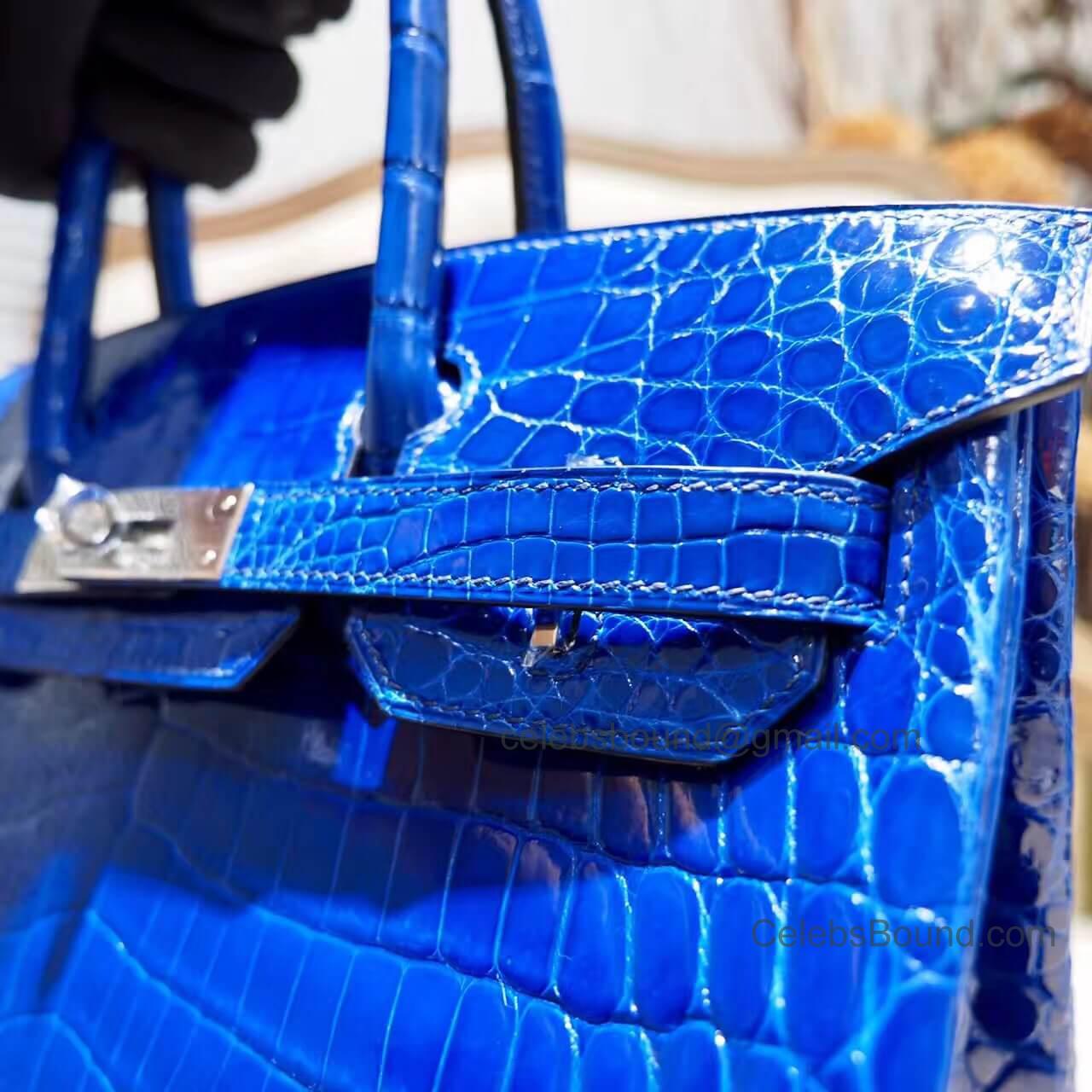 b69e804217 Copy Hermes Birkin 30 Bag in 7t Blue Electric Shiny Nile Croc PHW -