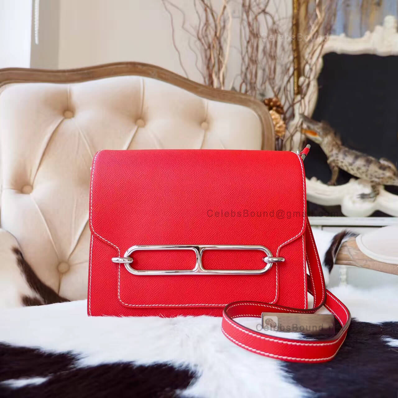 Replica Hermes Roulis 23 Bag in q5 Rouge Casaque Epsom PHW