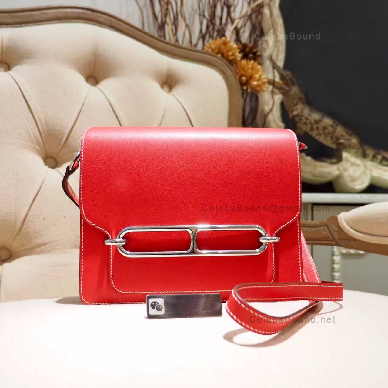 Hermes Roulis 23 Bag White Stitching in s5 Rouge Tomate Evercolor PHW