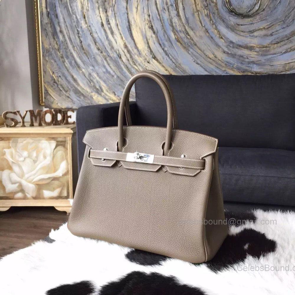 dd57c378cdec Hermes Birkin 30 Bag Etoupe Togo Leather Handstitched Silver hw -