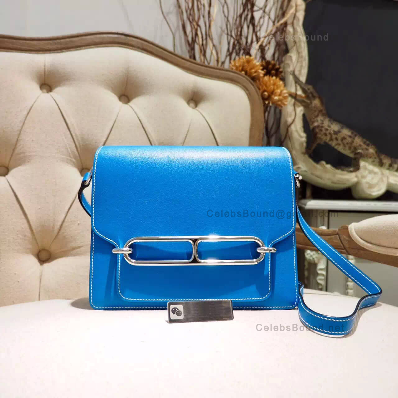 Hermes Roulis 23 Bag White Stitching in t7 Blue Hydra Evercolor PHW