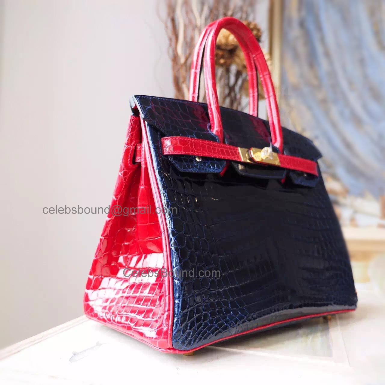 8dd627578458 Hand Stitched Hermes Birkin 30 Bag in Bicolored ck76 Blue Indigo Shining  Niloticus Croc GHW -