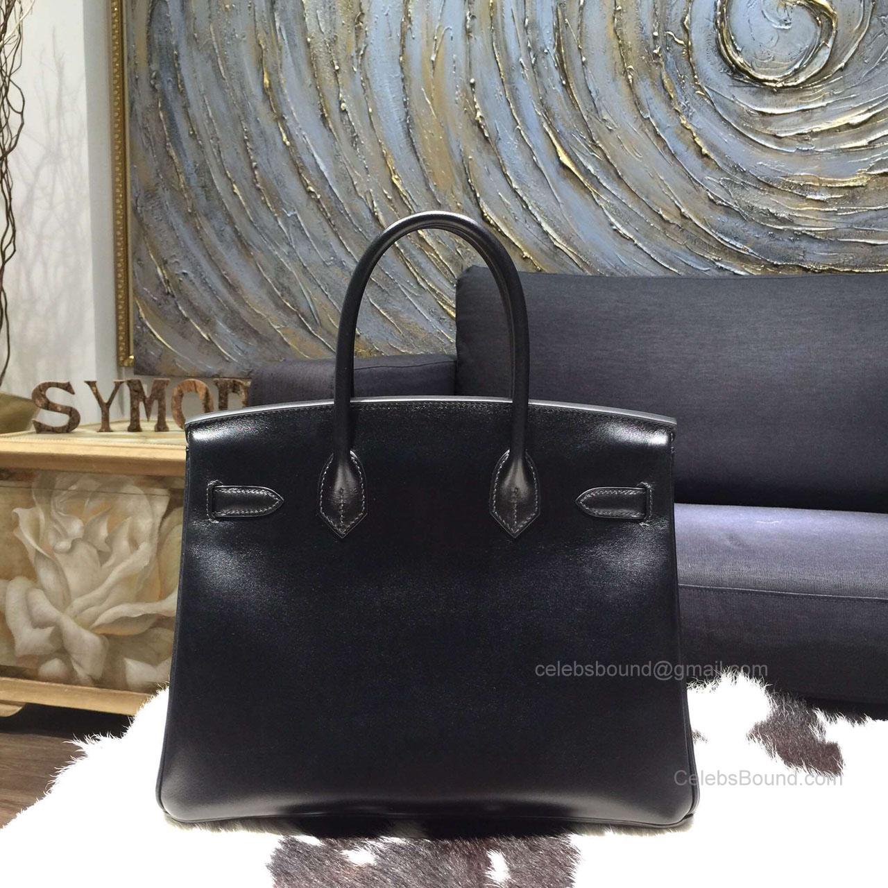 ed696643e8f4 Hermes Birkin 35 Bag Black Box Leather Handstitched Silver hw -