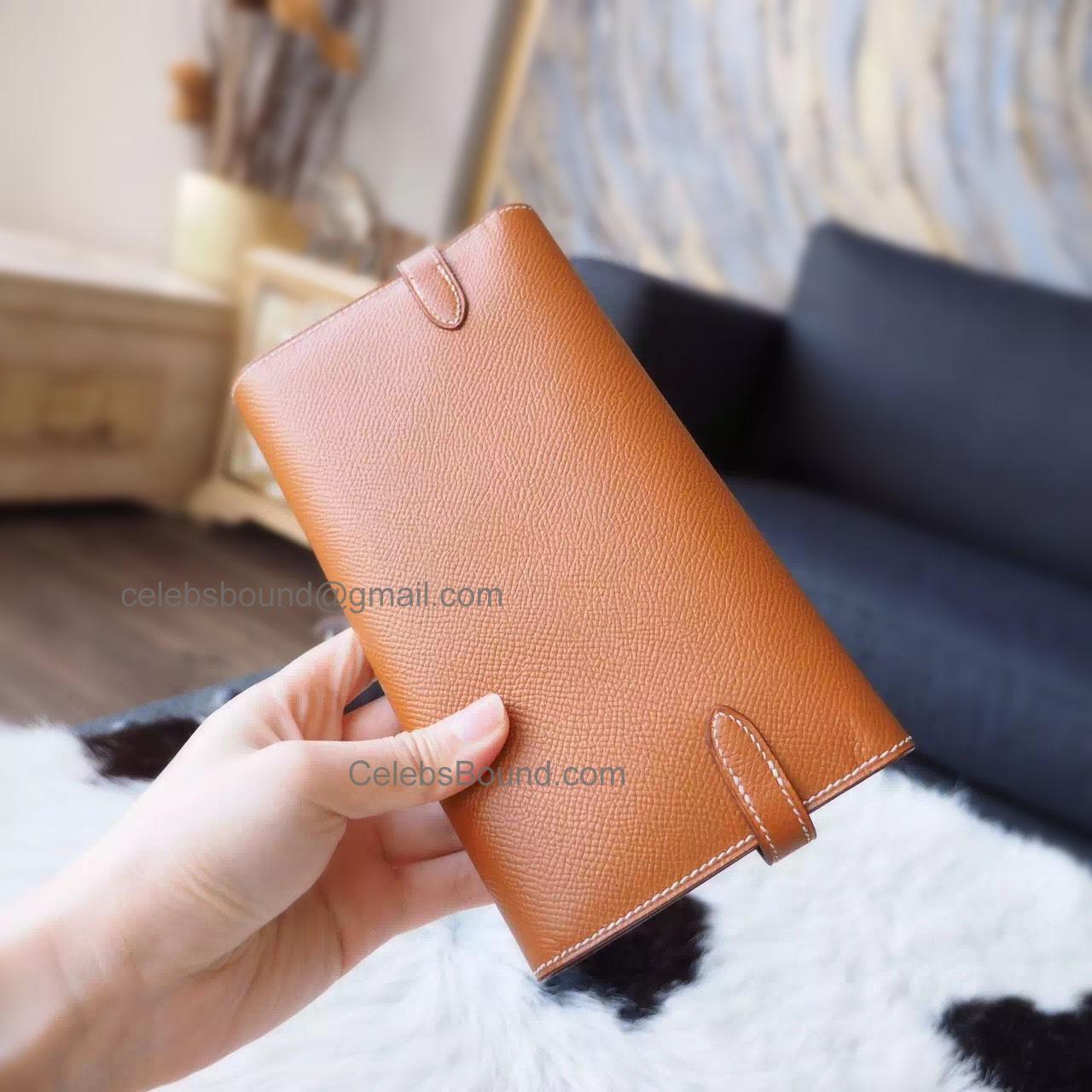 bd94a5ee3721 Hermes Kelly Long Wallet Handmade in ck37 Gold Epsom Calfskin GHW -